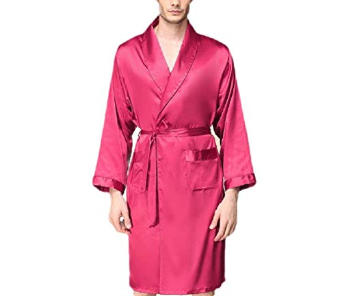 CuteRose Mens Lounge Robe Kimono Cardigan Big and Tall Satin Silky Loungewear Wine Red 2XL Big And Tall Cotton Belt