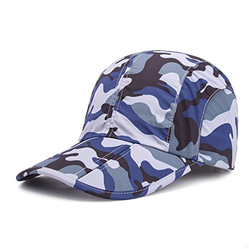 Blue Camo Hats,Camouflage Caps Breathable Running Quick Dry Folding Brim Hat Under 10 UV Sun Protection Visor Baseball Hats Adult Outdoor Fishing Golf hiking Cap for Men Women Camo Boonie Sun Hat