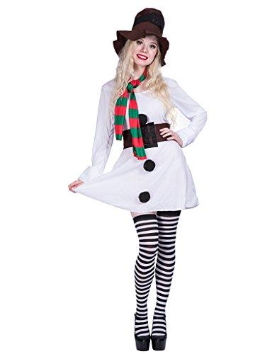 Schneemann Kostüm Frosty - EraSpooky Halloween Damen Snowgirl Kostüm Kleid