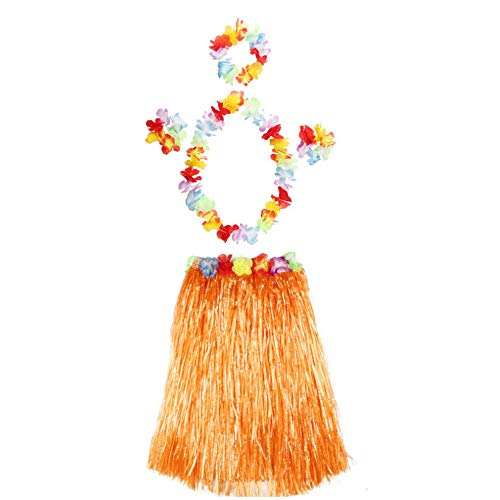 waii tropischen Hula Gras Tanzrock mit großen Blume Kostüm Set für Dance Performance Partydekorationen Bevorzugungen Lieferungen (6 Stücke),H,40CM ()