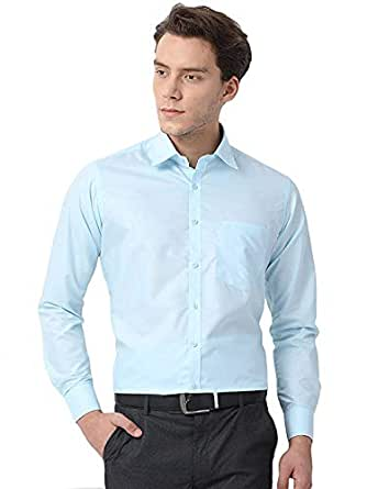 KRYPTAR Men's Cotton Polyester Blend Full Sleeve Formal Shirt (Sky Blue, Medium)