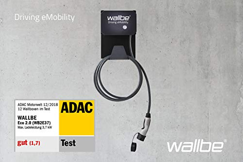 Wallbox wallbe® Eco 2.0s 11kW Ladeleistung für alle Elektro- und Hybridfahrzeuge (5m Ladekabel, inkl. Fehlerstromerkennung)