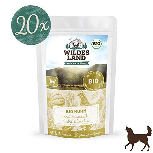 Wildes Land | Nassfutter für Hunde | Bio Huhn | 20 x 125 g |Getreidefrei & Hypoallergen | Extra hoher Fleischanteil von 60% | 100% zertifizierte Bio-Zutaten | Beste Akzeptanz und Verträglichkeit
