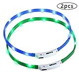 Zacro LED-Hundehalsband, beleuchtetes Hundehalsband, USB-wiederaufladbar, leuchtendes Hundehalsband, mit 3 Leuchtmodi, verstellbare Größe, für alle Hunde, Katzen und Haustiere (grün und blau)
