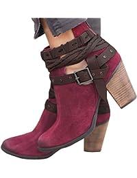 Minetom Stivali Donna Invernali Autunno con Tacco Boots Stivaletti Stivali  Moda Elegante Sexy Tacchi Alti Casual 1fd51e4f942