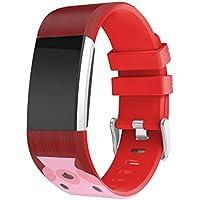 TopTen Navidad impreso correa de reloj deportivo de silicona ajustable banda pulsera, pulsera de accesorios de repuesto para Fitbit Charge 2pulsera de fitness, mujer, color rojo, tamaño medium