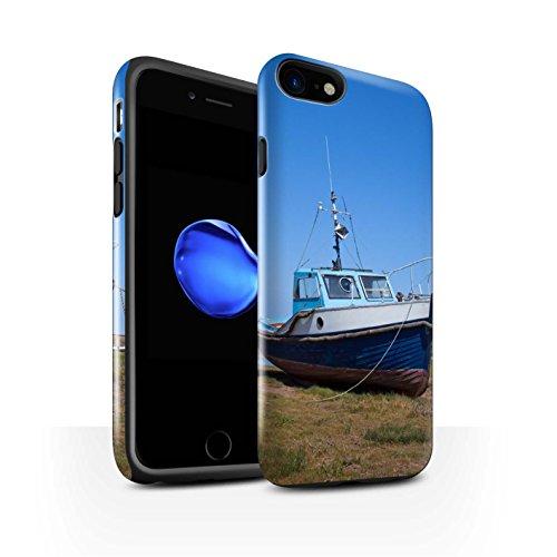 STUFF4 Glanz Harten Stoßfest Hülle / Case für Apple iPhone 8 / Boote Muster / Britischen Küste Kollektion Blau Boot