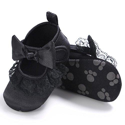 BZLine® Baby Mädchen Bowknot Canvas Schuhe Sneaker rutschfest Schuhe Schwarz
