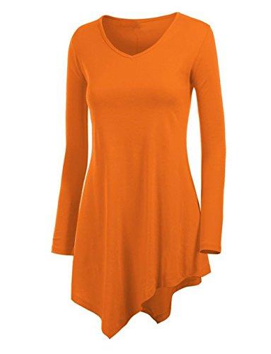 Hippolo Donna Maglione Maglia Camicetta Blusa Asimmetrica Casual Elegante Maniche Lunghe Nappe Ufficio (M, vino rosso) arancione