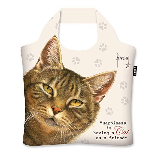 ecozz Francien´s - Katze-Faltbare Einkaufstasche-Tragetasche aus 100{6da8333c841a88363f9d9b5f456a0ffc9c9592caf6e7e5e20c59b6f41c8a2e7b} rPET (recycelten PET-Flaschen)-Wasserabstoßend-Mit Reißverschluss-Einkaufstüten-Handtasche-Tote Bag-Strandtasche