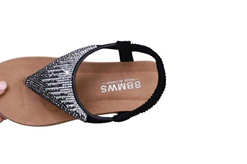 Longra Donna Boemia strass Decorare Toe Sandals piatto Nero