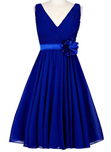 HUINI Abiti V-Neck breve Chiffon abiti da sposa partito di promenade con Fiore Blu reale