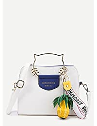 Premium Cat Ear Handle PU Shoulder Bag With Pineapple Detail