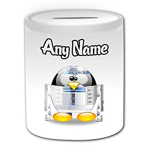 Cadeau personnalisé–Tirelire R2-D2(Pingouin Film Character Design Thème, blanc)–N'importe Quel Nom/Message sur votre Costume unique–Movie Superhero Héros Jedi Star Wars Sabre Laser Laser Sword artoo-detoo