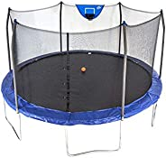 Skywalker Trampolines Unisex Child Jump N Dunk Round Trampoline With Basketball Hoop - Blue, 15 feet