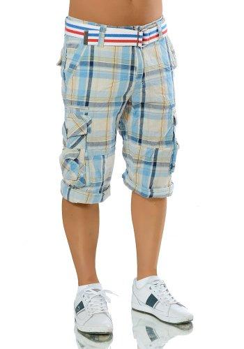 M116 Herren Bermuda Jeans kurze Hose Cargo Shorts Clubwear Bermudas mit Gürtel Blau