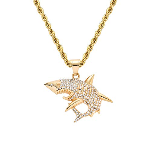 MCSAYS Fashion Persönlichkeit Hai-Anhänger Titan Stahl Hip-Hop Schmuck Gold Halskette