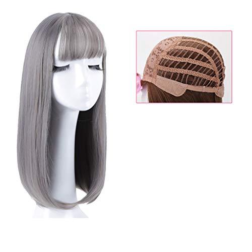 LIHY PerüCke- Perücke weiblich, 40 cm einfarbig Lange Rolle große Welle langes Haar natürliche niedliche dekorative Perücke (Farbe : Ceniza de lino de Madera Verde)