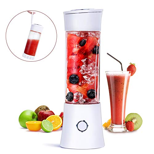 Fityou Licuadora Portátil, Mini Batidora de Vaso con 6 Cuchillas 480ML Juicer Smoothie Maker USB Recargable...