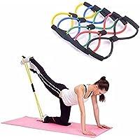 Extensor de resistencia para entrenamiento de yoga y fitness, bandas elásticas plegables tipo correa, color aleatorio