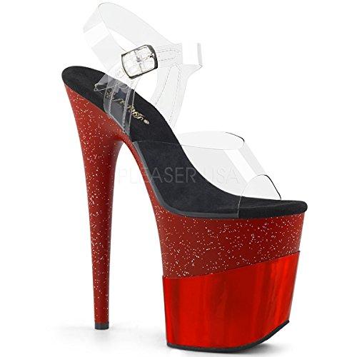 Pleaser FLAMINGO-808-2HGM Damen Extrem High Heels, Clear/Red Glitter-hologram, 39 EU Heel Glitter Sandal