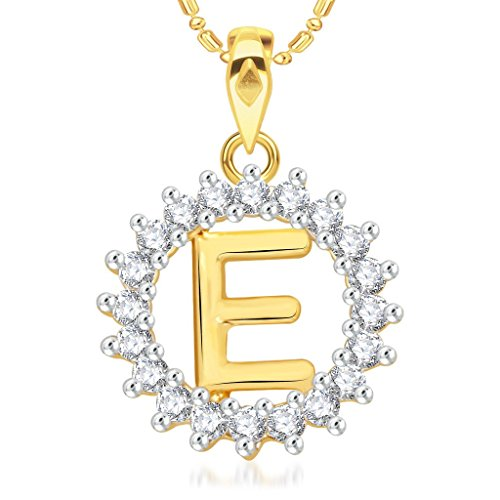 VK Jewels Alphabet Letter Collection Gold Brass Alloy CZ American Diamond Alphabet Pendant with Chain For Men and Women VKP1951G
