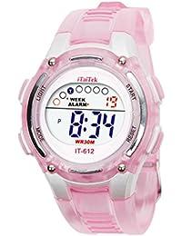 SMARTLADY Moda Niños Niñas Natación Deportes Digital Impermeable Reloj de pulsera (Rosa)