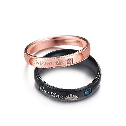 J-Z Fashionring Versprechen Paar Ringe Ihr König & Seine Königin Krone Charme Brief Ring für Frauen Männer Anel Masculino, Ring, 6