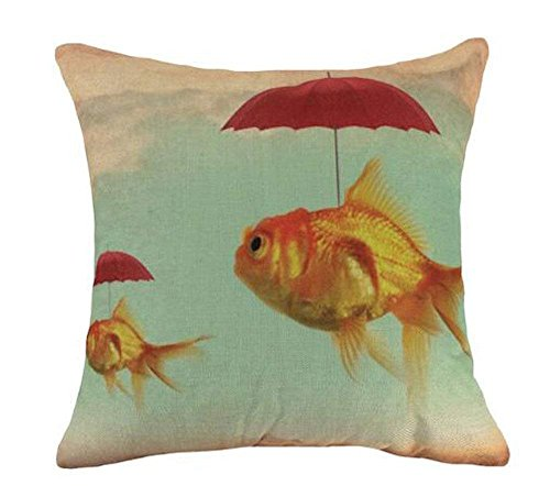 hat pillow Marine Animals Riding a Pulley and Funny Little Goldfish Cotton Linen Square Decorative Throw Case Cushion Cover 18inchs (Hug Pillow Sex)