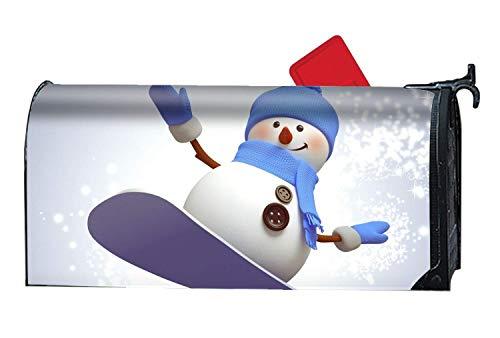 Mailbox Cover Außendekoration, Snowboarden Schneemann, rostfreie magnetische Mailbox umfasst 21 x 18 Zoll