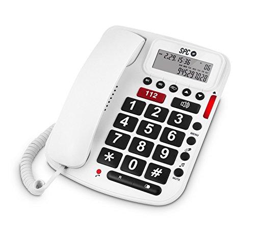 Volume confort spc 3293b – telefono fisso per anziani, 5 memorie dirette e amplificazione del volume