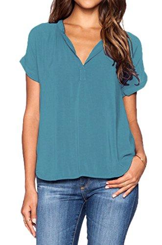LILBETTER Damen Blusen Sommer Casual V-Ausschnitt kurze Ärmel Lose Chiffon Blusen T-Shirt Tops(blau M)