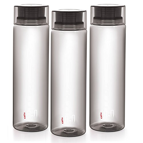 Cello H2O Unbreakable Pet Bottle , 1 Litre, Set of 3