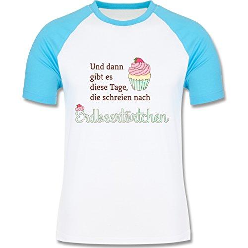Statement Shirts - Und dann gibt es diese Tage, die schreien nach Erdbeertörtchen - zweifarbiges Baseballshirt für Männer Weiß/Türkis