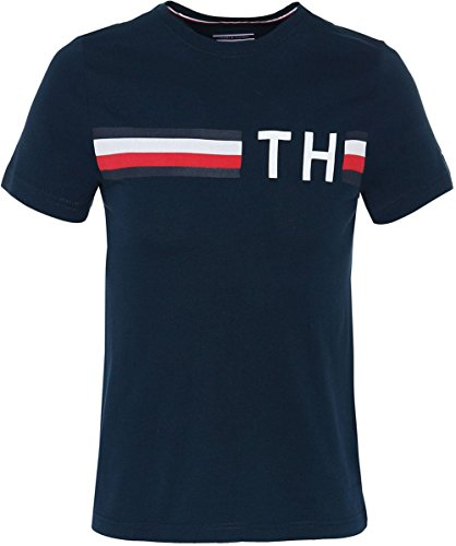 Tommy Hilfiger Herren T-Shirt Striped Logo Graphic Tee, Blau (Navy Blazer 416), Medium (Crewneck Striped Shirt)