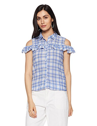 Honey by Pantaloons Women's Plain Regular Fit Top (110031354004_Light Blue_XL)