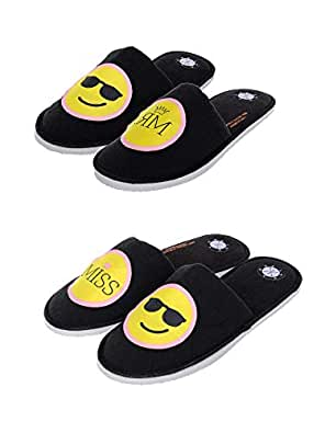 SQUETCH MR & Miss Cool Combo Home Slippers Black