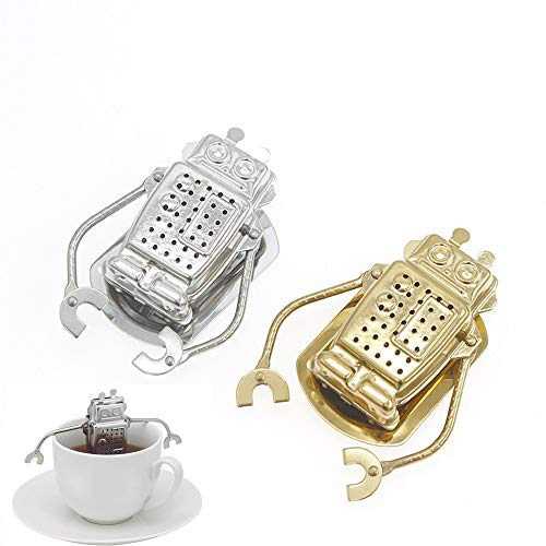 Tea Infuser, Hanging Robot Tea Filter with Drip Tray, Stainless Steel Loose Leaf Tea Strainer Set of 2 (Gold & Silver)
