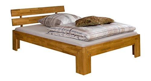 Erst-Holz® Doppelbett Futonbett 140x200 Massivholzbett Eiche geölt mit Rollrost 60.85-14