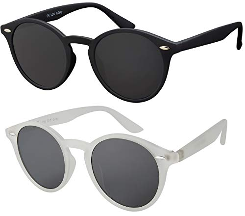 La Optica UV 400 Damen Herren Retro Runde Sonnenbrille Round - Doppelpack Rubber (1 x Schwarz, 1 x Transparent)