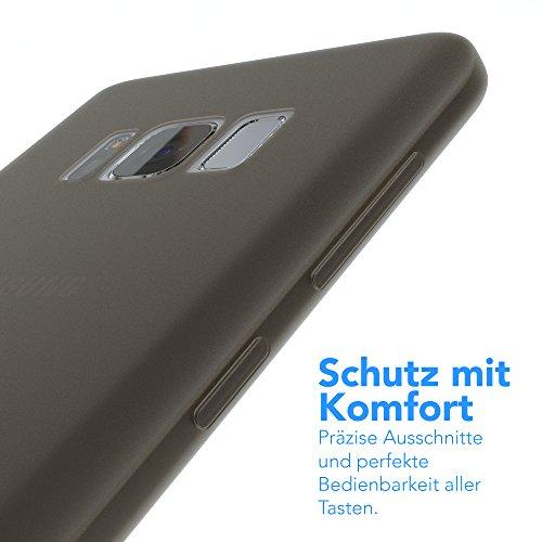 "EAZY CASE Handyhülle für Samsung Galaxy S8 Hülle - Premium Handy Schutzhülle Slimcover ""Brushed"" Aluminium Design - TPU Silikon Backcover in brushed Rot Matt Schwarz"
