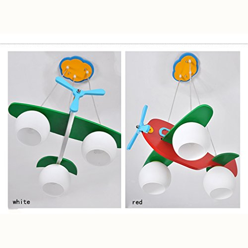 Guo Kinderzimmer-Lichter Jungen-Raum-Flugzeug-Lichter Kronleuchter-Pers5onlichkeit-kreative Karikatur-Beleuchtung-hölzerne Lampen E27 Lampen-Hafen ( farbe : Weiß ) - 2