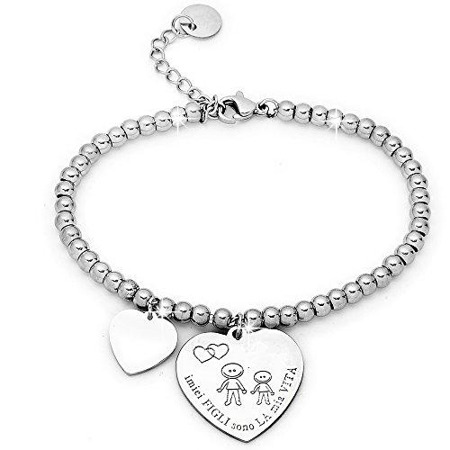Beloved ❤️ bracciale da donna, braccialetto in acciaio emozionale - frasi, pensieri, parole con charms - ciondolo pendente - misura regolabile - incisione - argento mf1