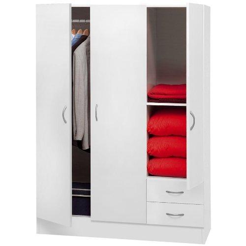 Composad armadio 3 ante e 2 cassetti colore bianco, 1, legno