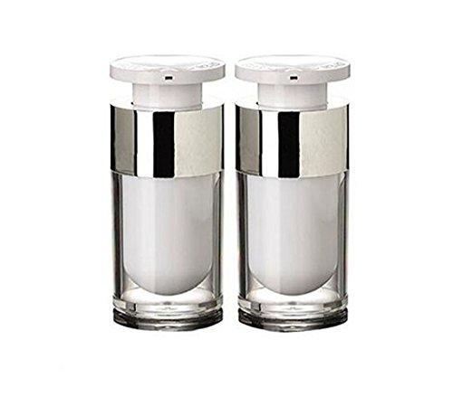 2 STÜCKE 15 ml/30 ml/50 ml Leere Nachfüllbar Weiß Acryl hochwertigen Airless Vakuumpumpe Creme Lotion Foundation Flasche Dispenser Vial Reisecreme Lotion Toner Container Topf (15ML) -