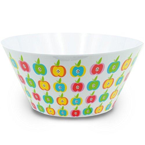 alles-meine.de GmbH 1 Stück _ große Schüssel -  Bunte Blumen / Blüten - Äpfel  - HOCH - rund - 3,8 Liter - aus Melamin Kunststoffschale / Kunststoff Plastikschale - für Erwachs.. -