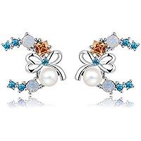 Bling Jewelry Cristalli e Perle arco orecchini da donna placcato platino