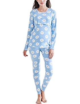 BESTHOO Maternity Pigiama Donna Sleepwear l'allattamento a Strati Maternity Pigiama Deluxe a Due Pezzi Pigiama...
