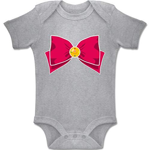 Shirtracer Karneval und Fasching Baby - Superheld Manga Moon Kostüm - 3-6 Monate - Grau meliert - BZ10 - Baby Body Kurzarm Jungen Mädchen