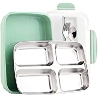 Stainless Steel Square lunch box set – isolato Leakproof Bento box per adulti e bambini con posate – lavastoviglie e microonde Green